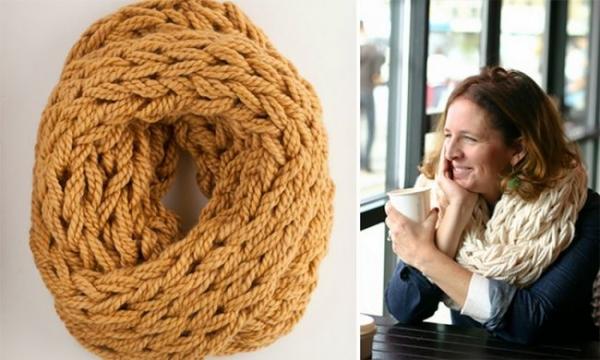 как св¤зать шарф руками без спиц